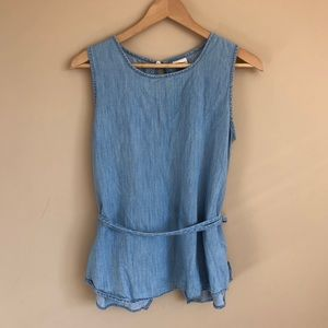 Gap Chambray Tie Back Top